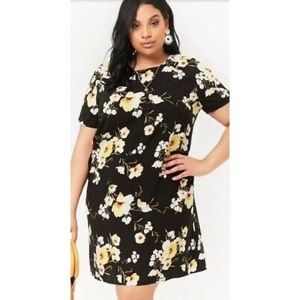Forever21 Black\Yellow Floral Dress 1X